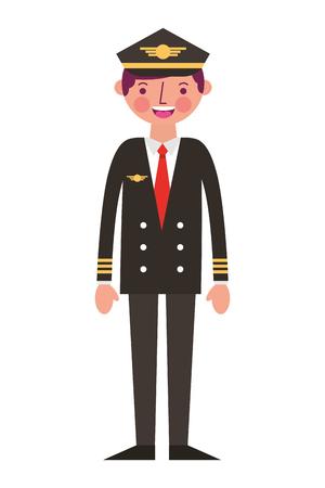 pilote d'avion commercial en illustration vectorielle uniforme