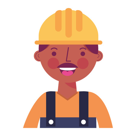 construction man worker with helmet and overalls portrait vector illustration