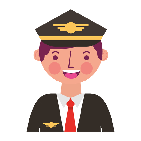 commercial airplane pilot in uniform portrait vector illustration Ilustração