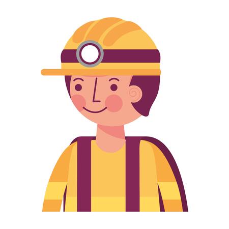man miner in helmet and equipment portrait vector illustration