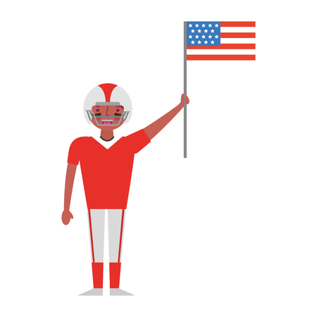 sport man player american football holding american flag labor day vector illustration