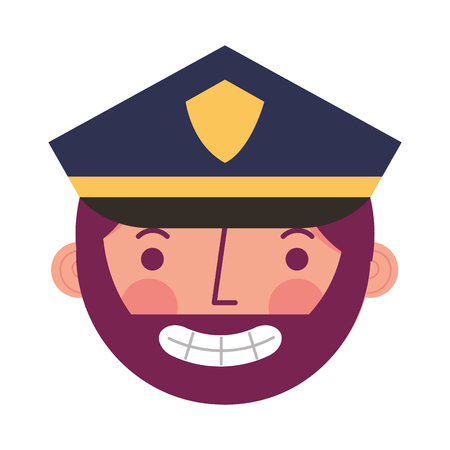 police man in uniform character face character vector illustration