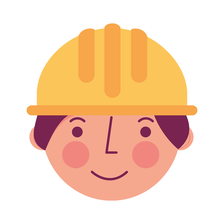worker contruction in hardhat face character vector illustration