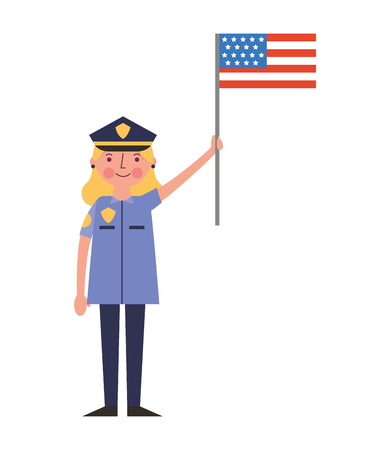 woman police officer holding american flag labor day vector illustration Stock Illustratie