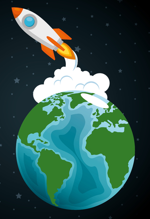 launcher rocket with earth planet vector illustration design 일러스트