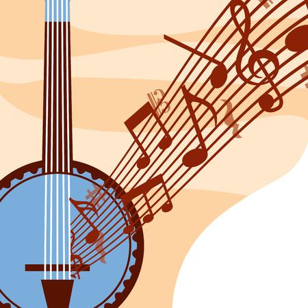 jazz festival blue banjo music quaver vector illustration  イラスト・ベクター素材