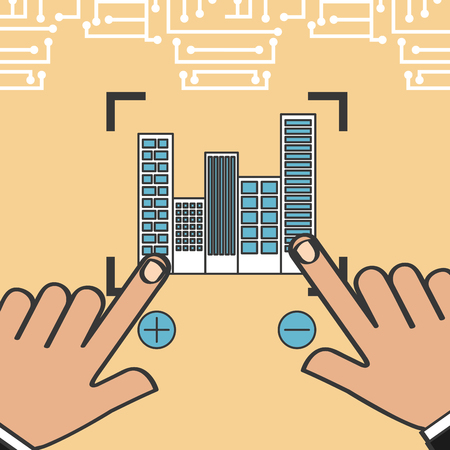 drone technology futuristic hands pointed city buildings focus vector illustration