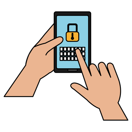 hands human with smartphone and padlock vector illustration design