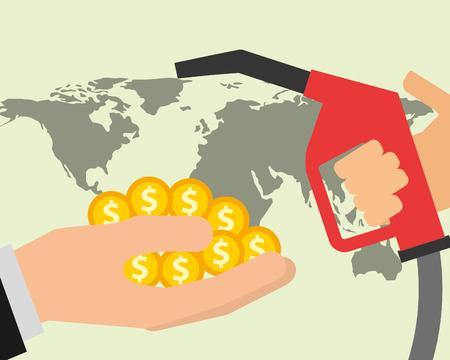 hand dispenser gasoline money and world oil industry vector illustration