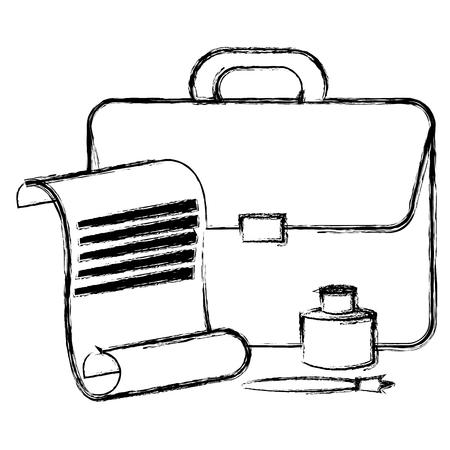 fountain pen with ink bottle and portfolio vector illustration design Illusztráció