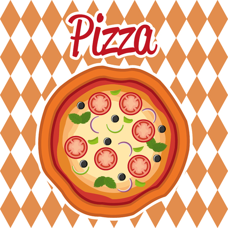 delicious italian pizza label vector illustration design Banco de Imagens - 105234822