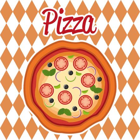 delicious italian pizza label vector illustration design
