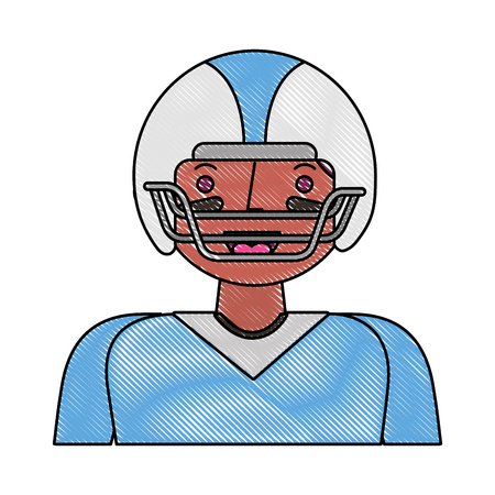 sport man player american football portrait vector illustration drawing