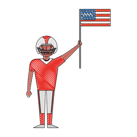sport man player american football holding american flag labor day vector illustration drawing