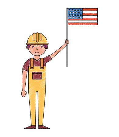 worker contruction holding american flag labor day vector illustration drawing  イラスト・ベクター素材