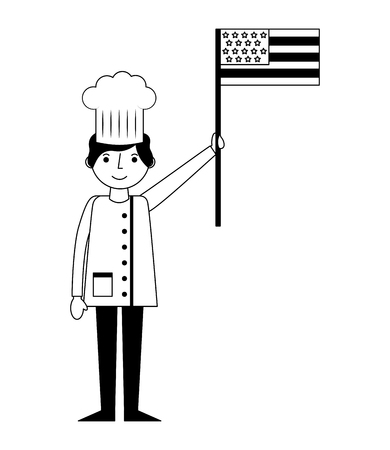 restaurant chef with usa flag vector illustration design