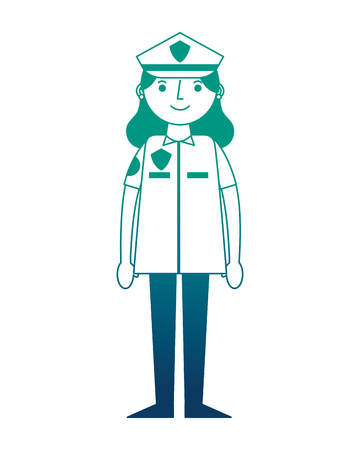 woman officer police character icon vector illustration design Ilustrace
