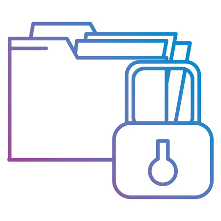file folder with padlock vector illustration design