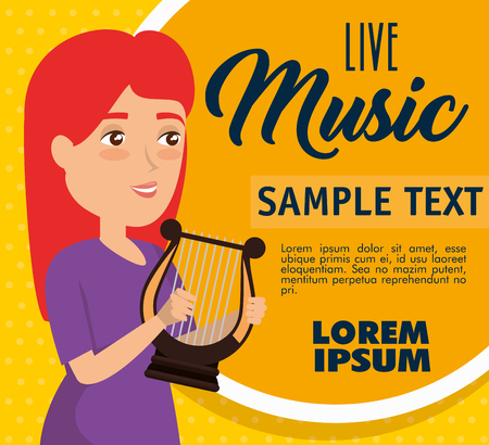 musician woman in concert vector illustration design Stock Illustratie