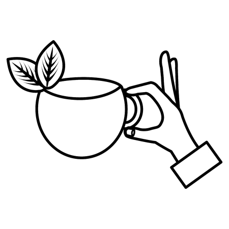hand with tea cup vector illustration design Stock Vector - 114876778