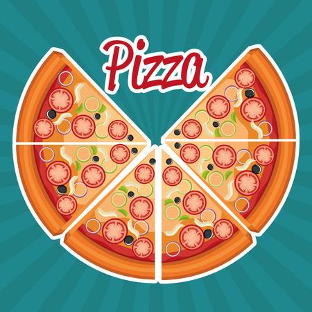 delicious italian pizza label vector illustration design Banco de Imagens - 105135996