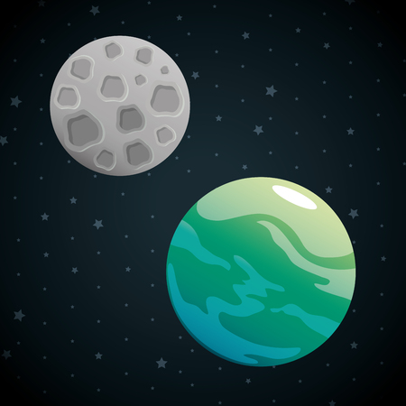 planets of the solar system scene vector illustration design Ilustração