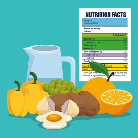cibo sano con fatti nutrizionali illustrazione vettoriale design