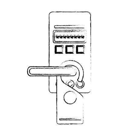 access digital door panel with hotel label hanging vector illustration design Stock Photo