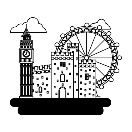 big ben tower with antique castle and panoramic wheel vector illustration design