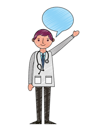 doctor professional with stethoscope in coat speech bubble vector illustration drawing Stock fotó