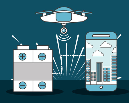 drone technology futuristic smartphone battery vector illustration