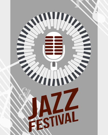 jazz festival instruments piano circle keys microphone music play sing vector illustration