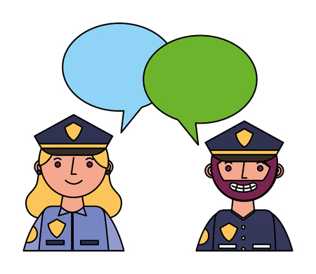 officers polices couple characters with speech bubbles vector illustration design Stock Photo