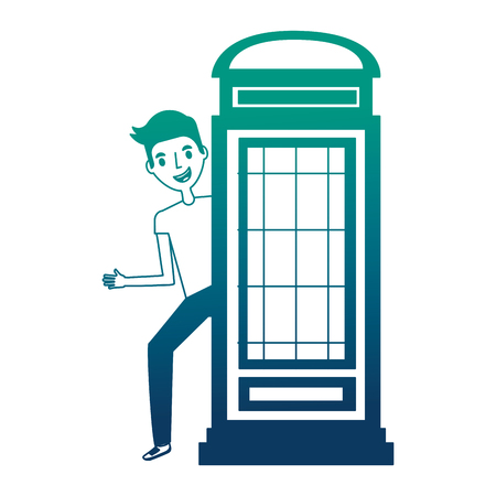 classic british telephone booth with young man vector illustration design