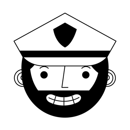 head officer police character icon vector illustration design