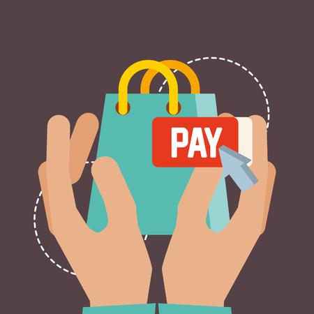 nfc payment technology hands holding handbag shopping vector illustration