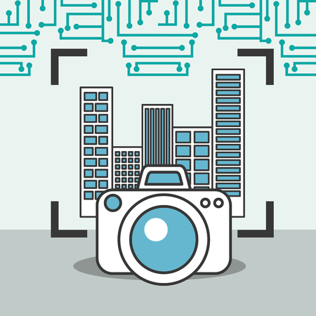drone technology photographic camera focus city Stock Photo