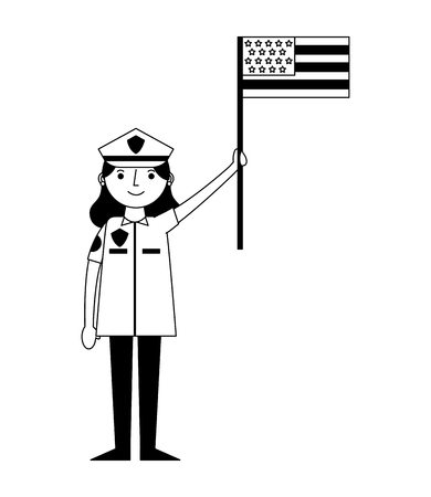 woman officer police with usa flag character icon vector illustration design