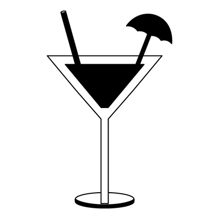 cocktail glass drink alcohol umbrella vector illustration black and white