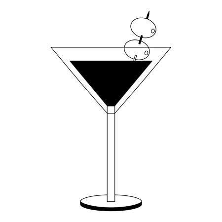cocktail glass drink alcohol with olives vector illustration black and white