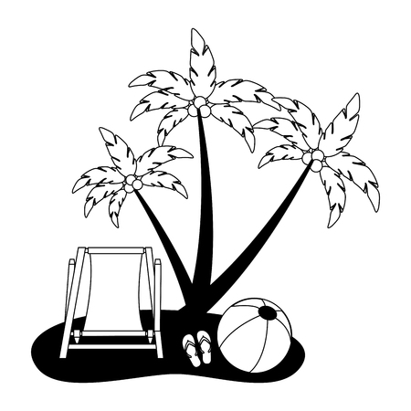 beach chair ball sandals and coconut palm vector illustration black and white