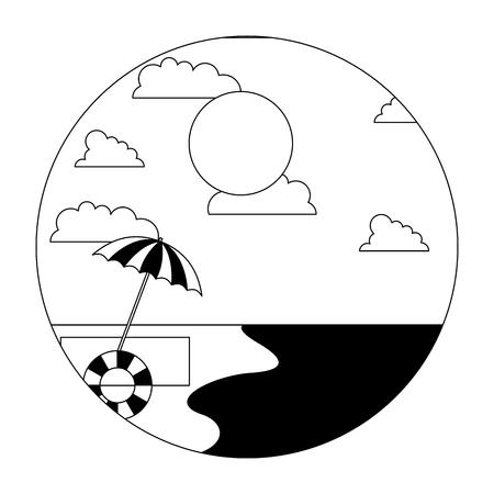 beach shore umbrella float sunny day summer vector illustration black and white