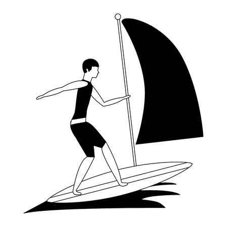man practicing windsurfing sport in ocean vector illustration black and white Illustration