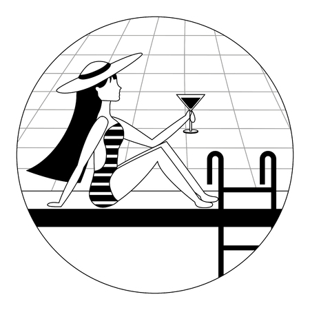 girl on the edge of the pool with a cocktail in her hand vector illustration black and white