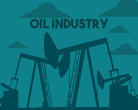 oil pump drilling in the field industry vector illustration