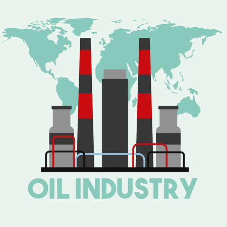 refinery manufacturing plant world map oil industry vector illustration Illustration