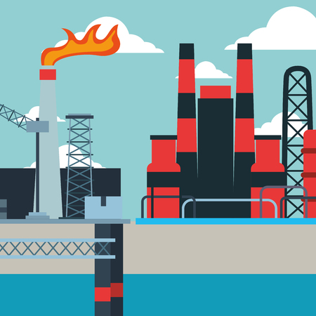 platform refinery production chimney flame oil industry vector illustration