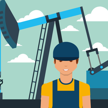 worker man and pump jack oil industry vector illustration