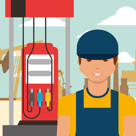 worker man and gas station oil industry vector illustration