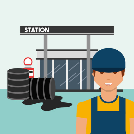 petrol station with worker and oil spill industry vector illustration